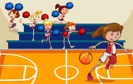 indoor court: Girl playing basketball in the gym with cheerleaders