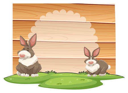 plywood: Two rabbits with wooden sign Illustration