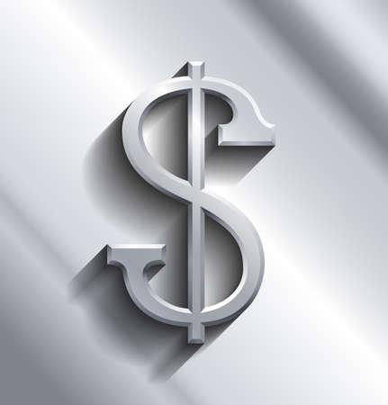 sign in: Dollar-Zeichen in der silbernen Farbe