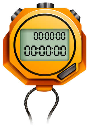 attached: Orange stopwatch with string attached