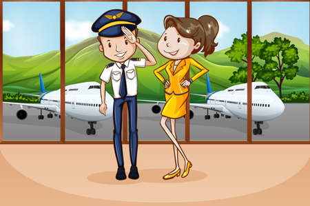 Pilot and flight attendant at the airport