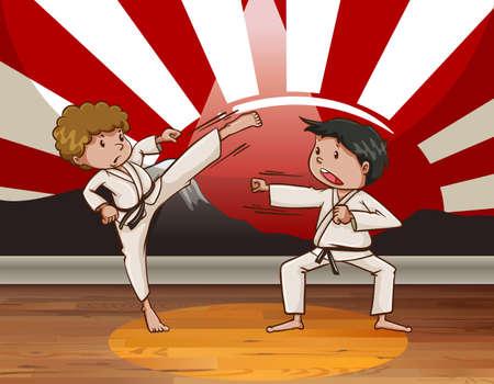 artes marciales: Dos hombres haciendo artes marciales en la sala de