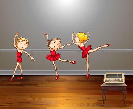 ballet niñas: Tres chicas haciendo el baile del ballet en la sala de