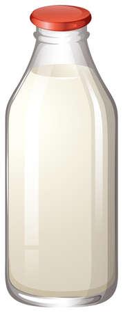 vaso de leche: Leche en botella de vidrio sin etiqueta
