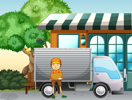 tree service pictures: Delivery service man and truck by the shop
