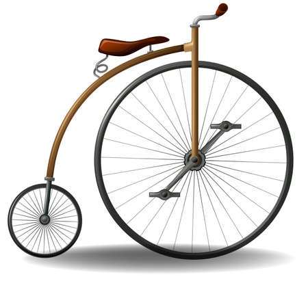 Vintage bicycle with one big wheel and one small