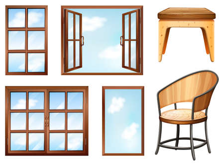 wooden stool: Different design of windows and chairs