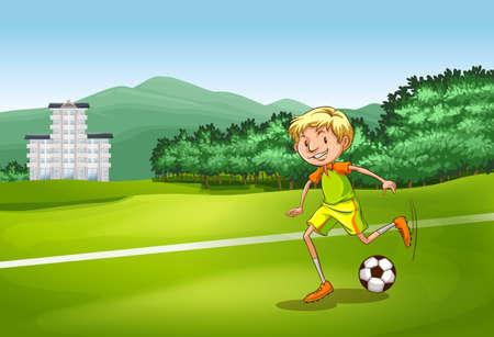 the football player: Jugador de f�tbol pateando una pelota en el campo