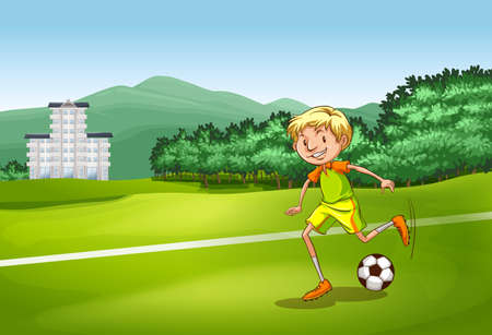 football kick: Soccer player kicking a ball in the field Illustration