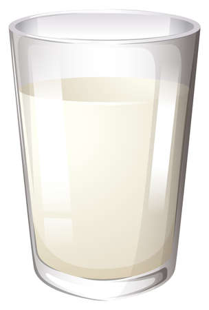 filled: One glass filled with fresh milk Illustration