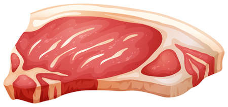 Fresh pork chop in single cut Illustration