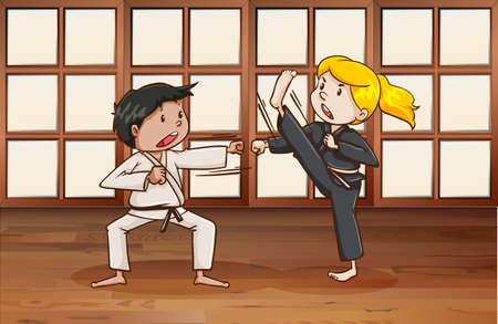 martial arts woman: Man and woman practice martial arts in the room Illustration