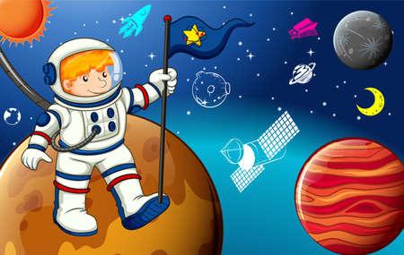 cartoon astronaut: Astronaut holding flag on the planet