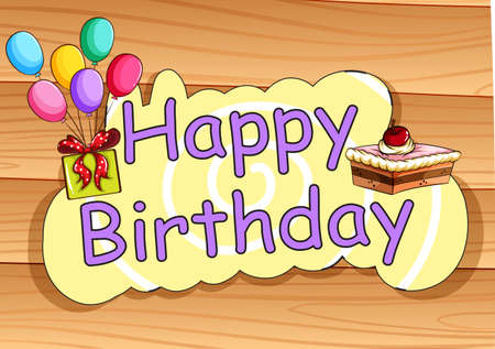 wording: Happy Birthday card with present and cake background