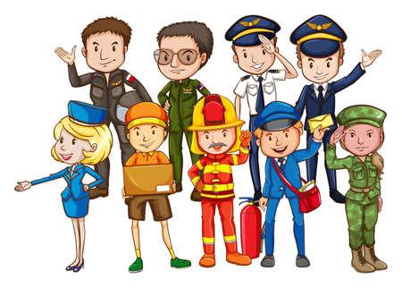 brandweer cartoon: Verschillende soorten beroepen met mensen in uniform