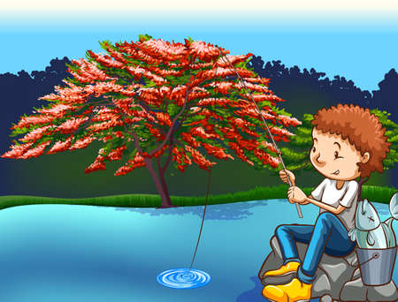 freetime activity: Man fishing by the lake at daytime