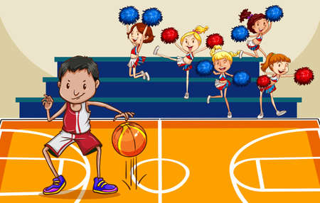 Basketball player bouncing ball in the gym with cheerleaders