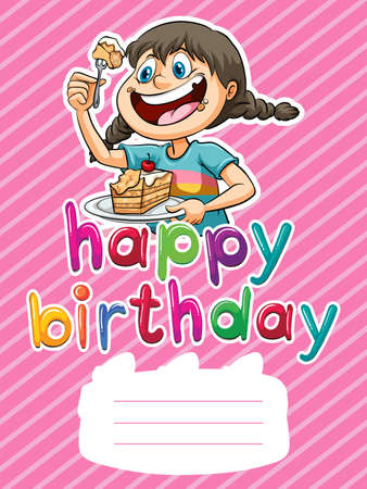 cake background: Happy Birthday poster with girl eating cake background