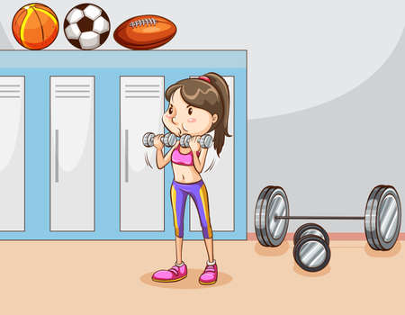 strength training: Woman doing bodybuilding in the room Illustration