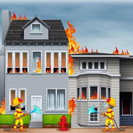 incendio casa: Bombero sofocar el incendio de la casa Vectores