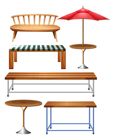 outdoor seating: Different kind of wooden bench and chair