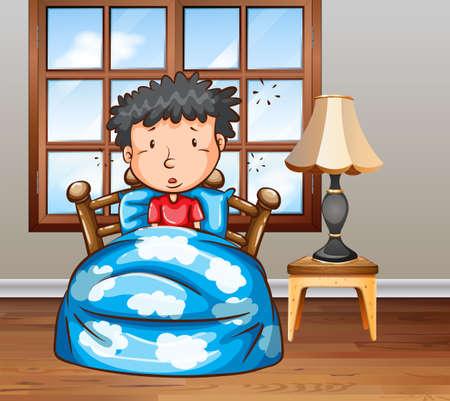 personne malade: Homme regardant malade au lit