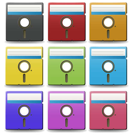 floppy: Floppy disks with plain design in nine different colors