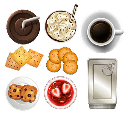 tin: Set of different drinks and snacks
