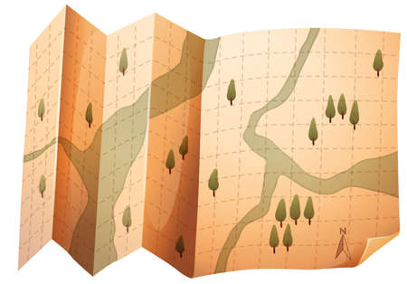 Paper map with river and tree in grid