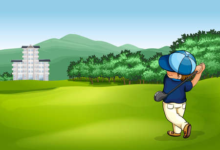 golf cartoon characters: Man playing golf in the golf court