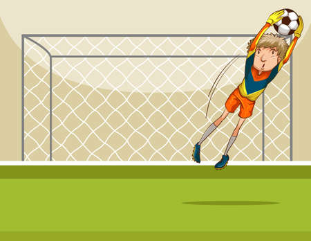 goal: Goal keeper catching a ball in front of the goal Illustration
