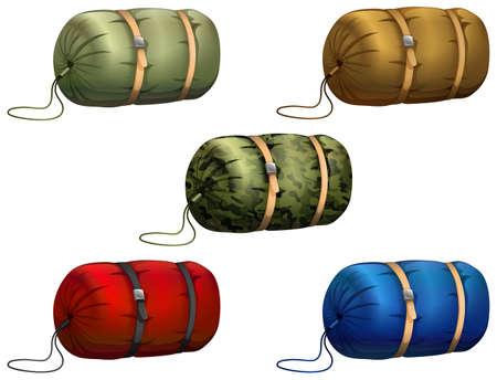 army cartoon: Different design of sleeping bag Illustration