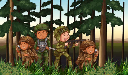 communication cartoon: Soldiers loaded with armed in the battle field
