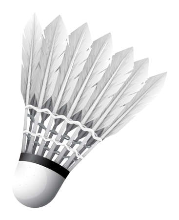 shuttlecock: Close up shuttlecock with white feather Illustration