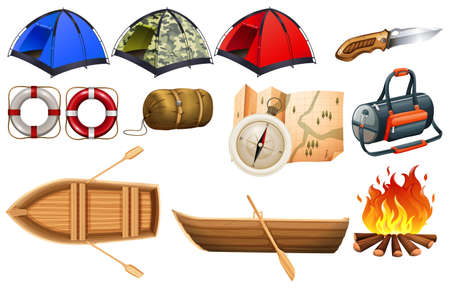 sleeping bag: Different kind of camping equipments and boats