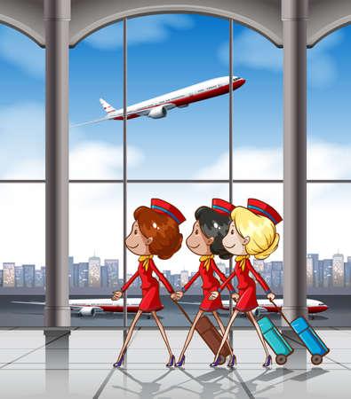 flucht: Drei Flugbegleiter ziehen Gepäck am Flughafen