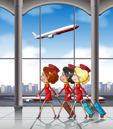 flight: Three flight attendants pulling luggage at the airport