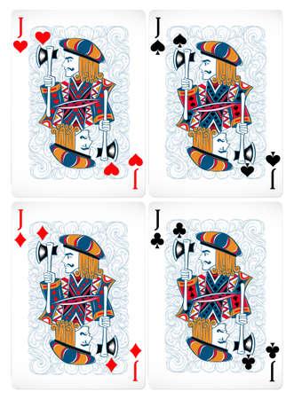 cartas de poker: Cuatro cartas de p�quer de jack en dise�o cl�sico Vectores