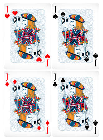 poker cards: Four poker cards of jack in classic design
