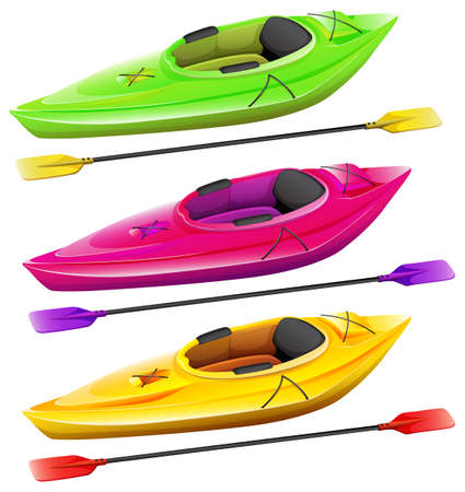 kayak: Kayaks and oars in three different colors