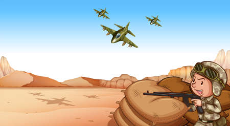 wojenne: Żołnierz z pistoletem karabin strzelanie w dziedzinie