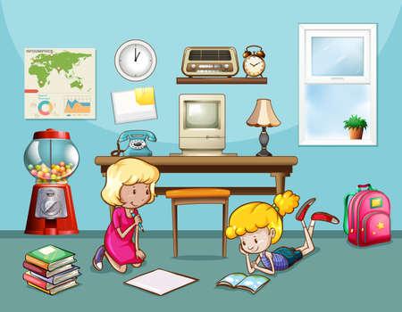 Filles lecture et l'écriture dans la chambre Banque d'images - 42358692