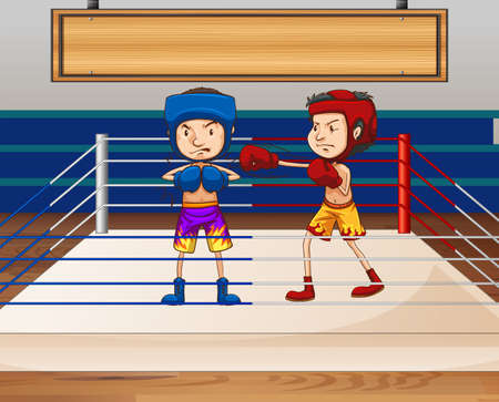 arena: Boxer fighting at the boxing arena