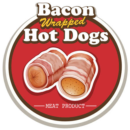 sausages: Bacon wrapped hot dog in round badge Illustration