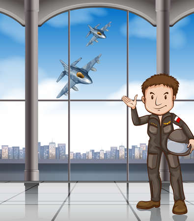 daytime: Man in pilot suit at the airport Illustration
