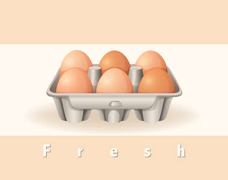 raw material: Six fresh eggs in the box