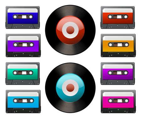 disks: Tape cassettes and record disks Illustration