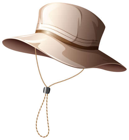 adjustment: Brown fishing hat with rope for adjustment Illustration