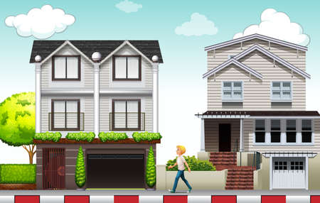 home clipart: Man walking in the neighborhood