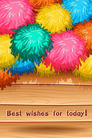 pom pom: Card saying best wish for today